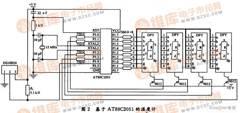 该模块选用单线温度传感器dsl