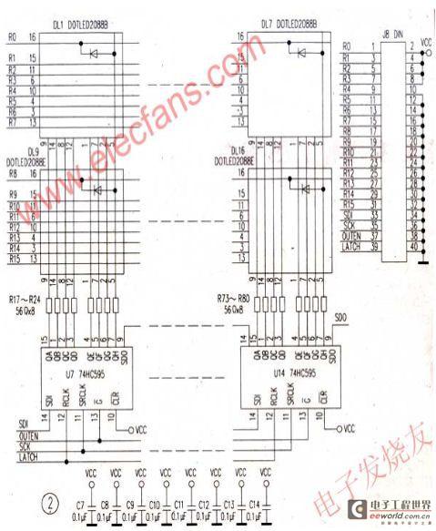 led点阵显示器电路原理图及程序