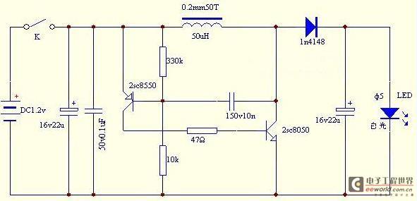 LED手电具有省电、耐用、亮度强等优点。非常受欢迎,这里介绍一个LED手电制作的经典电路,供大家参考。 1、1.5V低成本LED驱动电路  LED驱动电路 磁环选用T9*5*3/2K,也可用T10*6*5等,用0.3mm漆包线双线并绕20T,按图中同名端连接。TR1选8050或9014,D1选4937或107,PCB用一片废板自制。  LED手电 2、1.