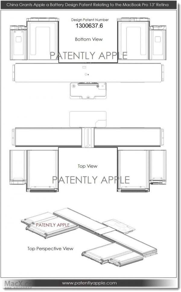 苹果在中国获得Retina Macbook Pro电池设计专利